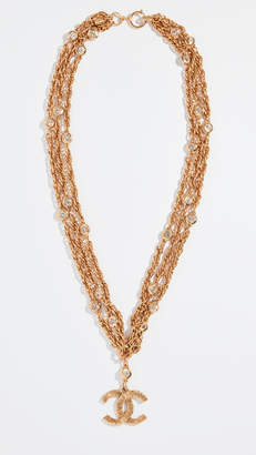 Chanel What Goes Around Comes Around Gold Crystal CC Links Necklace
