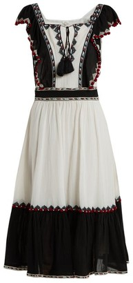 Talitha Collection Alicia Ruffle Trimmed Cotton Dress - Womens - White Multi