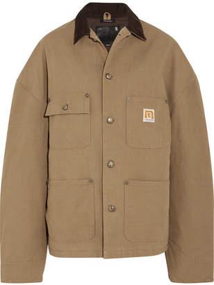 R 13 Workman Oversized Corduroy-trimmed Cotton-canvas Jacket - Beige