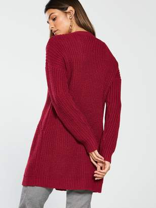 Very Ribbed Button Through Cardigan - Dark Red