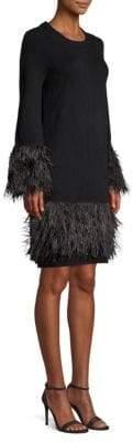 MICHAEL Michael Kors Feather Trim Sweater Dress