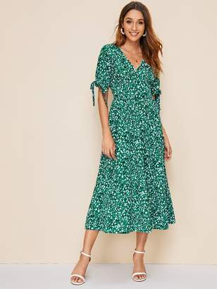 Shein Knot Cuff Leopard Print A-line Dress