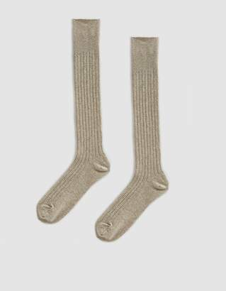 Anonymous Ism Wool Cashmere High Crew Sock in Oatmeal