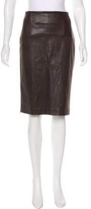 Brunello Cucinelli Leather Knee-Length Skirt