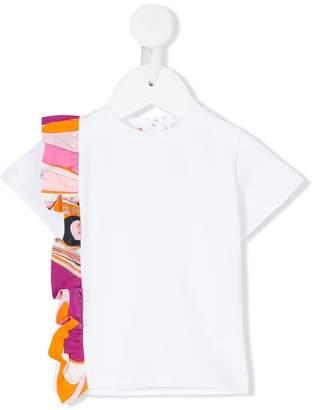 Emilio Pucci Junior printed frill trim T-shirt