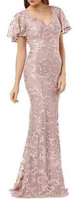 Carmen Marc Valvo Embroidered Flutter Sleeve Gown