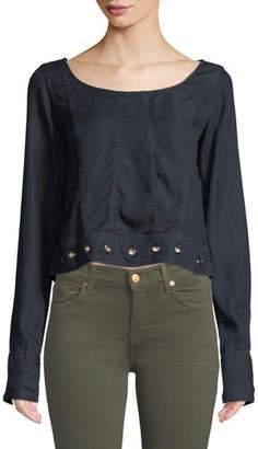 DL1961 Premium Denim Suffolf Grommet-Trim Long-Sleeve Shirt