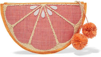 Kayu Pomelo Woven Straw Pouch - Pink