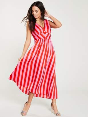Warehouse Cutabout Stripe Dress - Pink
