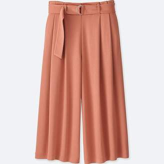 Uniqlo Women's Belted Wide Cropped Pants