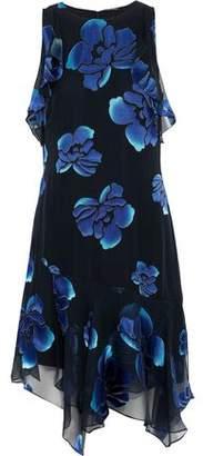 Elie Tahari Serenity Ruffled Floral-print Burnout Silk-blend Chiffon Dress