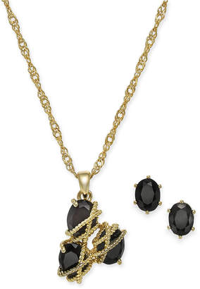 Charter Club Gold-Tone Crystal Three-Stone Wrap Necklace and Earrings Set