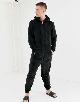 Brave Soul fleece onesie with hood in gray