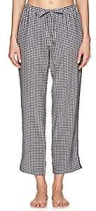 Sleepy Jones Women's Marina Gingham Silk Pajama Pants-Black & White