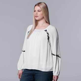 Vera Wang Plus Size Simply Vera Embroidered Top