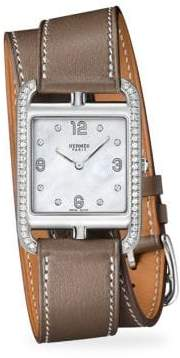 Hermes Watches Cape Cod Diamond, Stainless Steel& Leather Strap Watch