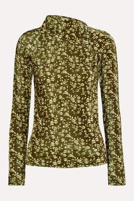 Dodo Bar Or Brenda Floral-print Stretch-velvet Turtleneck Top - Green