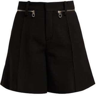 Chloé Zip Waistband Wool Crepe Shorts - Womens - Black