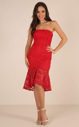 Showpo Love Vibes dress in red lace - 8 (S) Sale Dresses