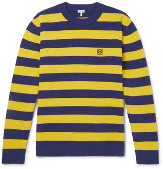 Loewe Logo-embroidered Striped Wool And Cashmere-blend Sweater - Yellow