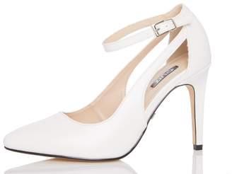 Quiz White Cutout Ankle Strap Court Shoes