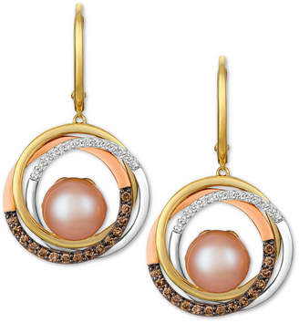 LeVian Le Vian Cultured Freshwater Pink Pearl (10mm) & Diamond (3/8 ct. t.w.) Drop Earrings in 14k Gold, White Gold & Rose Gold