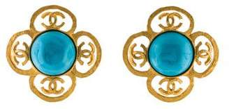 Chanel CC Resin Floral Clip-On Earrings