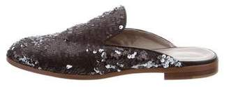AGL Sequined Leather-Trimmed Mules