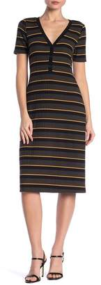 Abound Striped Ribbed Button Front Midi Dress