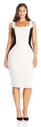 Single Dress Women's Plus Size Scallop Neck Color Block $17.93 thestylecure.com