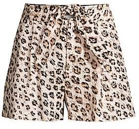 Joie Women's Carden Leopard Linen Tie-Front Shorts - Size 0