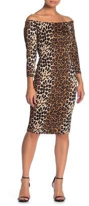 Blvd Leopard Print Off-the-Shoulder Bodycon Dress