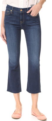 7 For All Mankind Cropped Boot Cut Jeans with Raw Hem $179 thestylecure.com