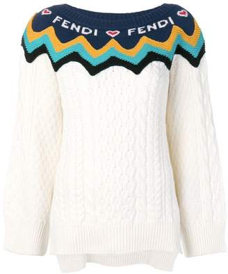 Fendi logo colour-block sweater