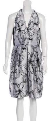 Carmen Marc Valvo Patterned Sleeveless Dress