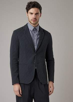 Giorgio Armani Slim-Fit Jacket In Warp-Knitted Gaufre Tech Fabric