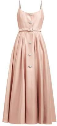 Alessandra Rich Crystal Embellished Cotton Blend Midi Dress - Womens - Light Pink