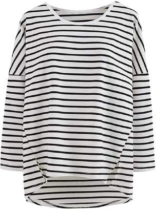 Goodnight Macaroon 'Anita' Striped Asymmetric Hem Long Sleeved T-Shirt (2 Colors)