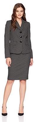 Le Suit Women's Novelty Dot 3 Bttn Notch Lapel Skirt Suit