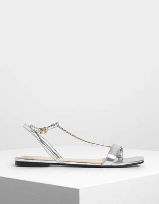 Charles & Keith Chain Strap Metallic Sandals