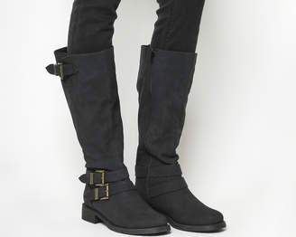 Office Kiddo Buckle Biker Boots Black Fur Lined