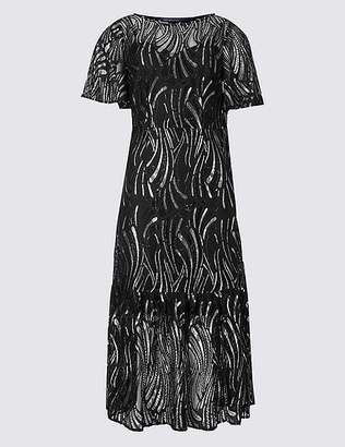Marks and Spencer Lace Short Sleeve Midi Dress