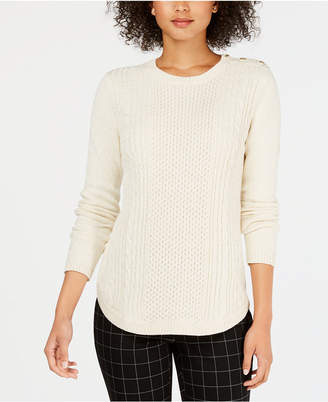 Charter Club Petite Cable-Knit Metallic Sweater