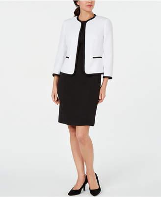 Le Suit Petite Piped Jacket & Sheath Dress Suit