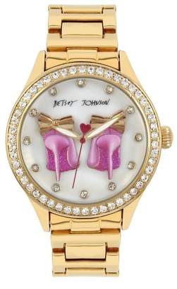 Betsey Johnson Women's Czech Crystal Embellished Watch, 42mm