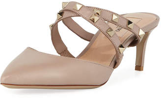 Valentino Rockstud Crisscross Low-Heel Mules