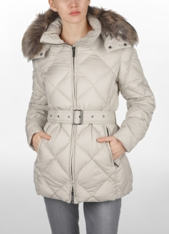 Quilted Puffer Jacket With Detachable Fur Hood