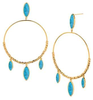 Gorjana Palisades 18K Yellow Gold Plated Marquise Cut Turquoise Hoop Drop Earrings