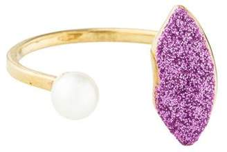 Delfina Delettrez 9K Glitter Lip & Pearl Cocktail Ring