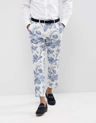 ASOS Wedding Skinny Suit Pants In Blue and White Cotton Floral Print $64 thestylecure.com